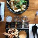 Chicken ramen, chicken karaage and sake flight
