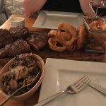 The Herd Steak Sharing Platter with a side of mushrooms and peppercorn sauce (extra)