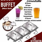 The lavish spread of lunch buffet with a complimentary beer or a moctail from Monday to Saturday