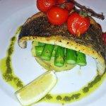 Sea bass, crushed potato, asparagus, pesto