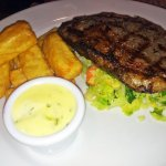 Sirloin, cabbage and chips