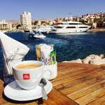 Good morning coffee at the marina view
