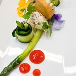 Dressed White Crab  Wye Valley asparagus, pickled courgette and chilli gel.