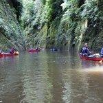 Canoeists exploring Mangaio Stream
