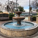 fountain in from of restaurant