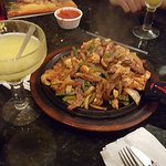 Sharing a Fajitas for Two with happy hour Margaritas