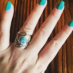 Beautiful silver and larimar ring.
