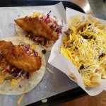 Beer battered fish tacos and nachos