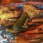 Fried Chicken, Fries and Pickle