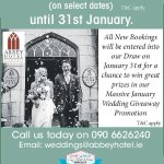 10% Discount on Abbey Weddings until 31st January 2018. T&C apply