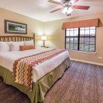 Queen bed in lodge room