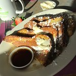 Pumpkin almond French toast and steak & eggs-Awesome!