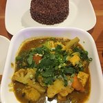 Vegetable Curry with red rice