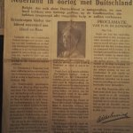 Front page announcing that Germany invaded the Netherlands and queen Wilhelmina's manifesto.
