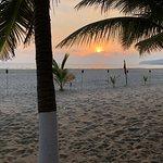 The beach at sunset.