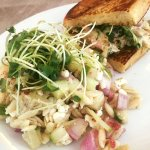 Orzo salad and veggie tapenade sandwich