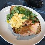 Salmon avocado toast with scrambled eggs