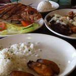 Red snapper, combo meats plate, rice and fried plantains. All tasty.