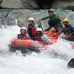 Having a great time on one of the rapids