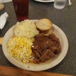 New England Pot Roast, mashed potatoes and corn.