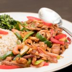 A house favorite: Chicken Cashewnut with Vegetables and Brown Rice