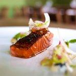 Salmon with Teriyaki Gel, Chervil Yogurt & Agura Caviar