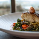 Pan roasted hake, dried cherry tomatoes & tender stem broccoli.