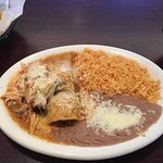 Enchilada and tamal with rice and beans