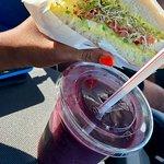 The Mediterranean veggie sandwich and Acai Energy SMoothie