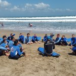 Safety briefing before going surfing