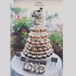 Naked wedding cake and cupcakes