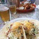 Blackened swordfish tacos / fish an chips with mahi mahi washed down with Islamorado brew