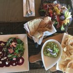 Guacamole, Rosso salad, and regional meats and cheeses (yes, it's served on a rock slab).
