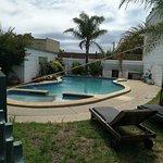 Salt water pool, but gardens around need freshening up