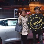 Yan Ce took a photo with his mom after winning a 2018 Jaguar F-Type at San Manuel Casino on 1/25