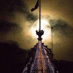 Supermoon over the Clock Tower of the Balmoral Hotel, Princes Street, Edinburgh.