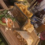 Chicken wrap, wedges, side salad, Blue Moon beer