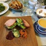 Lunch: Soup and open ham sandwich, potato wedges