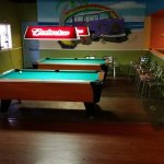 3 Pool Tables inside