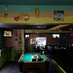 3 pool tables insde