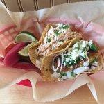 Fish taco on the left! Avocado taco on the right!