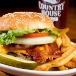 Country Burger with a glass of Country House Red Ale