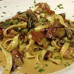 La Cucina contest winner! Fettuccini with Goat Cheese, prosciutto, mushrooms, peas, tomato, mars