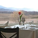 View of the White Mountains from our enclosed porch dining room
