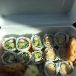 Lunch Combo 2: Yummy California roll, Spicy butterfish roll, miso soup, with yam tempura!