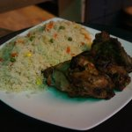 Grilled Chicken Served with Fried Rice