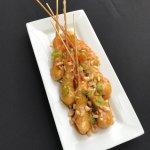 Sticky Shrimp, hence the skewers!