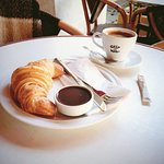 Ethiopia (coffee beans) and a croissant with chocolate
