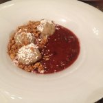 Ginger dumplings with berry compote - was disappointing, not ginger flavour & chewy pastry