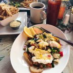 Duck confit hash with pear salsa (brunch)